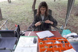 Marianne McKenzie getting some handson experience with ringing birds